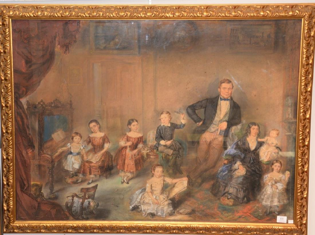 19th Century  mixed media  Family Portrait  unsigned