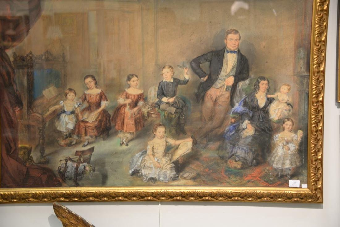 19th Century  mixed media  Family Portrait  unsigned - 2