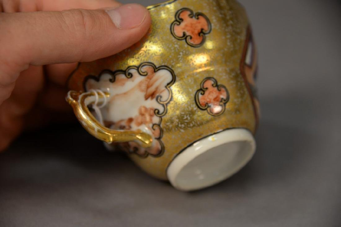 Chinese export porcelain tea cup with heavy gilt - 3