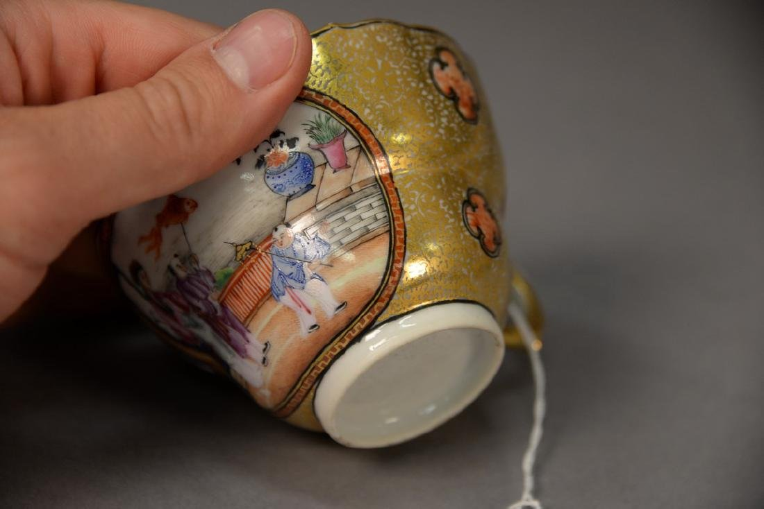 Chinese export porcelain tea cup with heavy gilt - 4