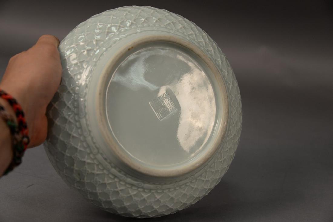 Pair of celadon glazed center bowls having basket weave - 4