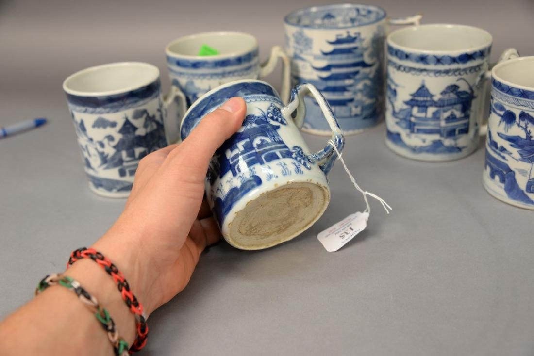 Group of six blue and white porcelain mugs in willow - 2