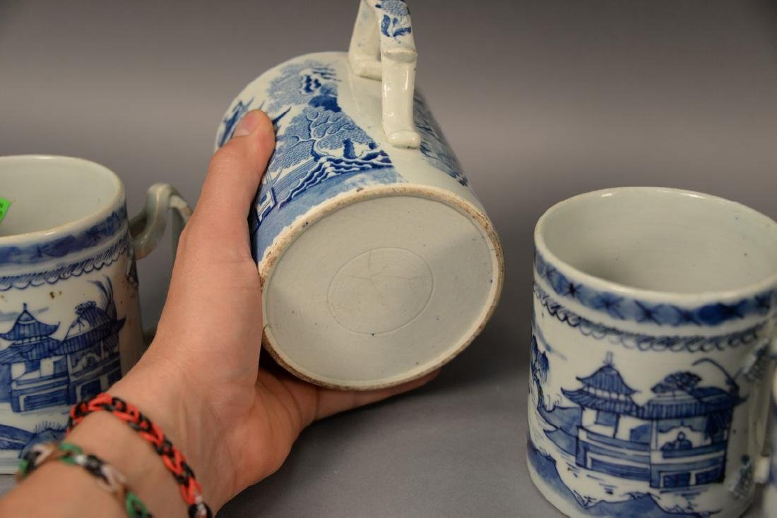 Group of six blue and white porcelain mugs in willow - 6