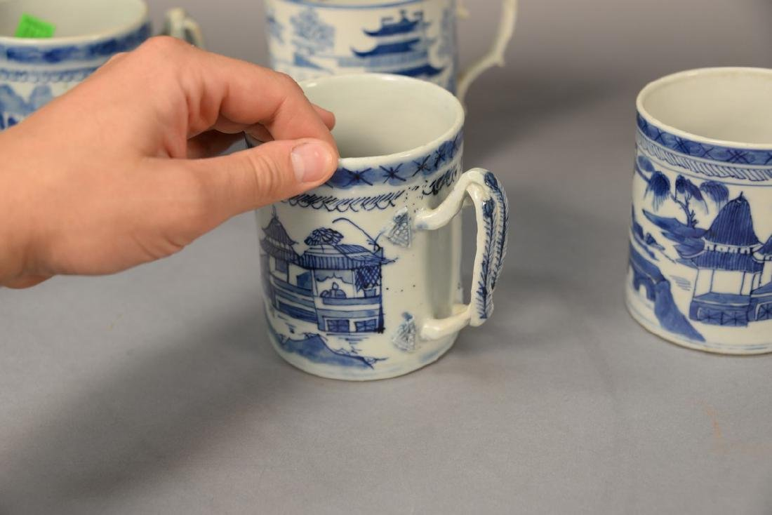 Group of six blue and white porcelain mugs in willow - 7