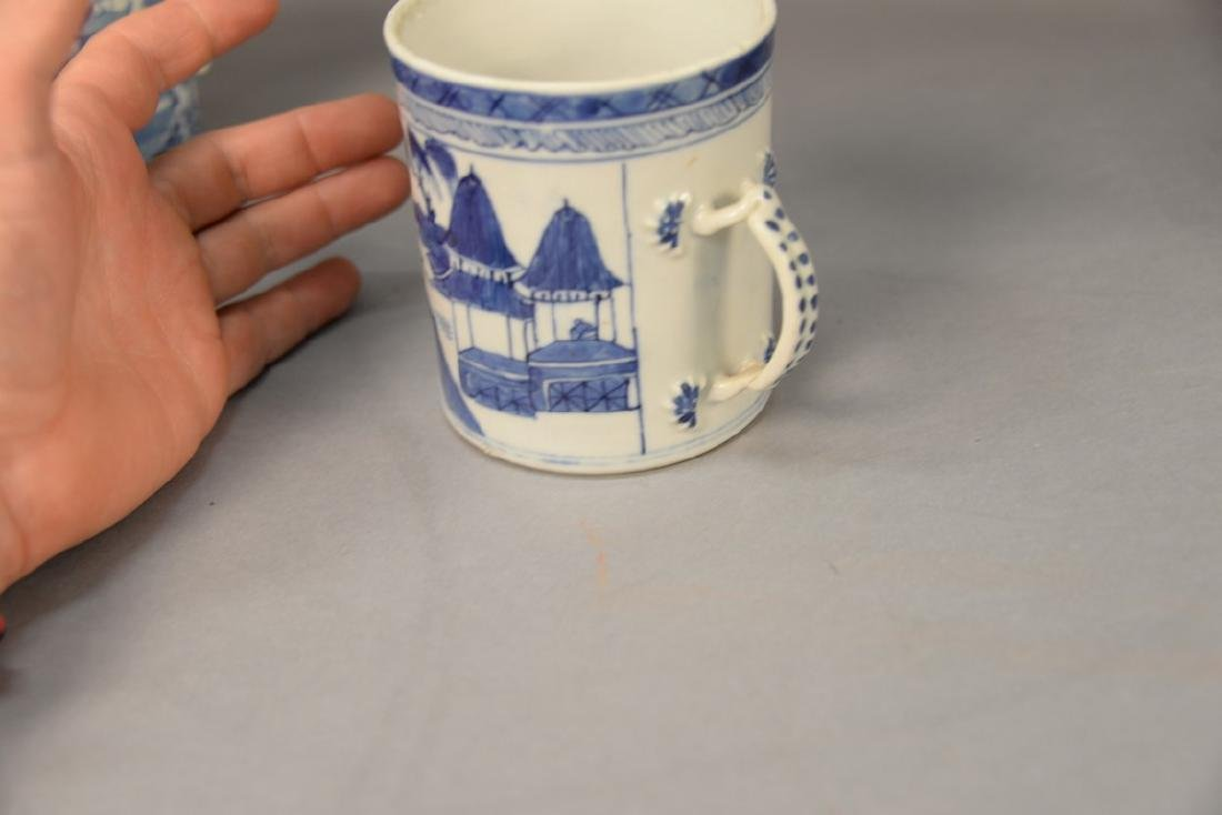 Group of six blue and white porcelain mugs in willow - 9