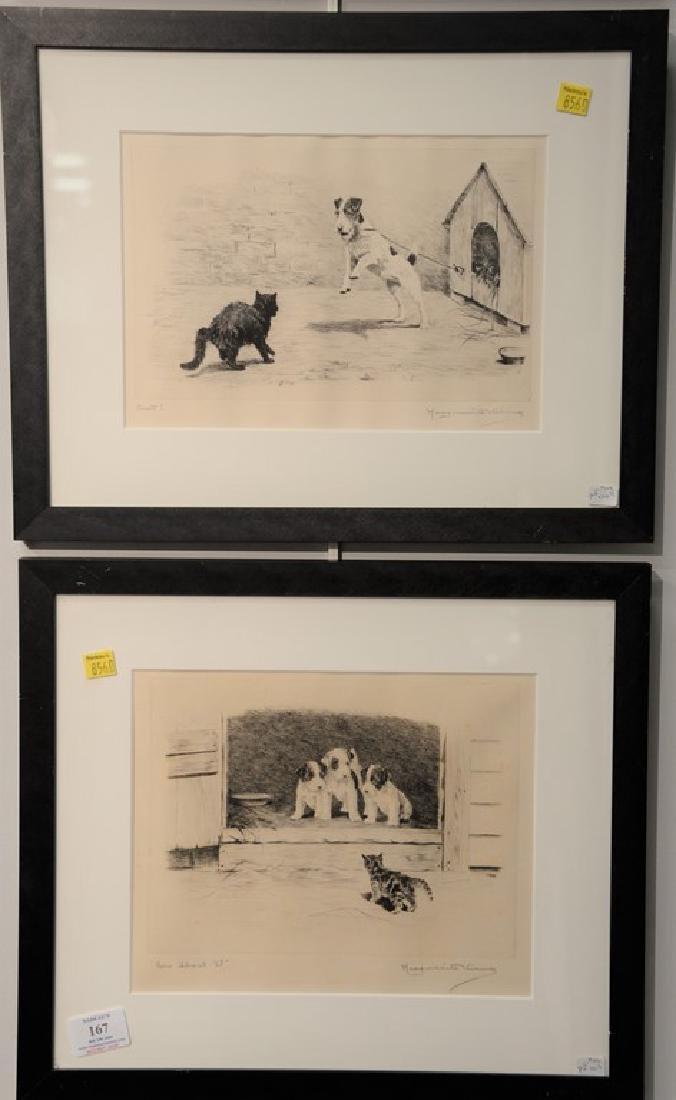 Set of five Marguerite Kirmse (1885-1954)  etchings