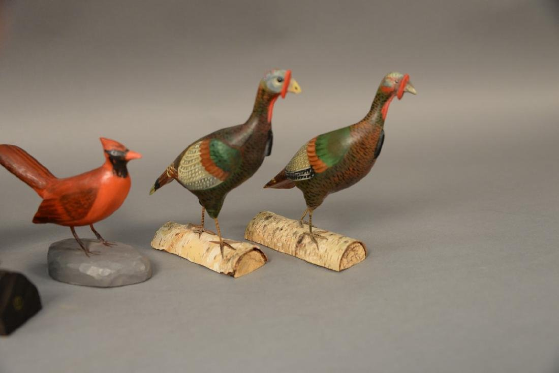 Group of eight miniature hand carved and painted bird - 2