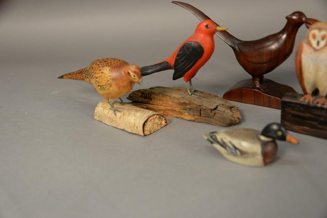 Group of eight miniature hand carved and painted bird - 3