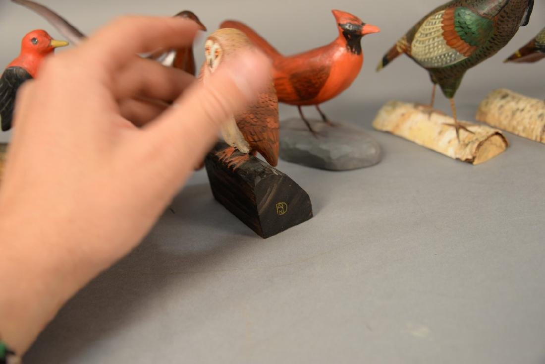 Group of eight miniature hand carved and painted bird - 4