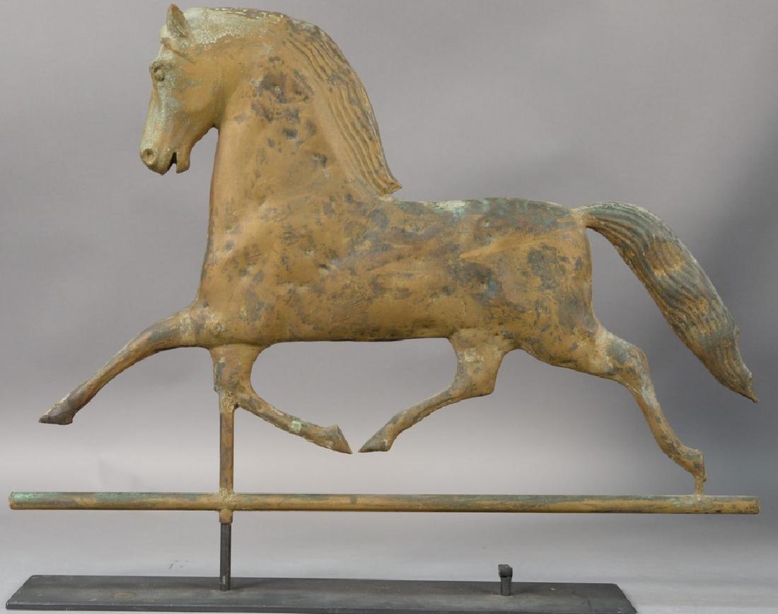 "Horse weathervane with zinc head ""Black Hawk"" on metal"