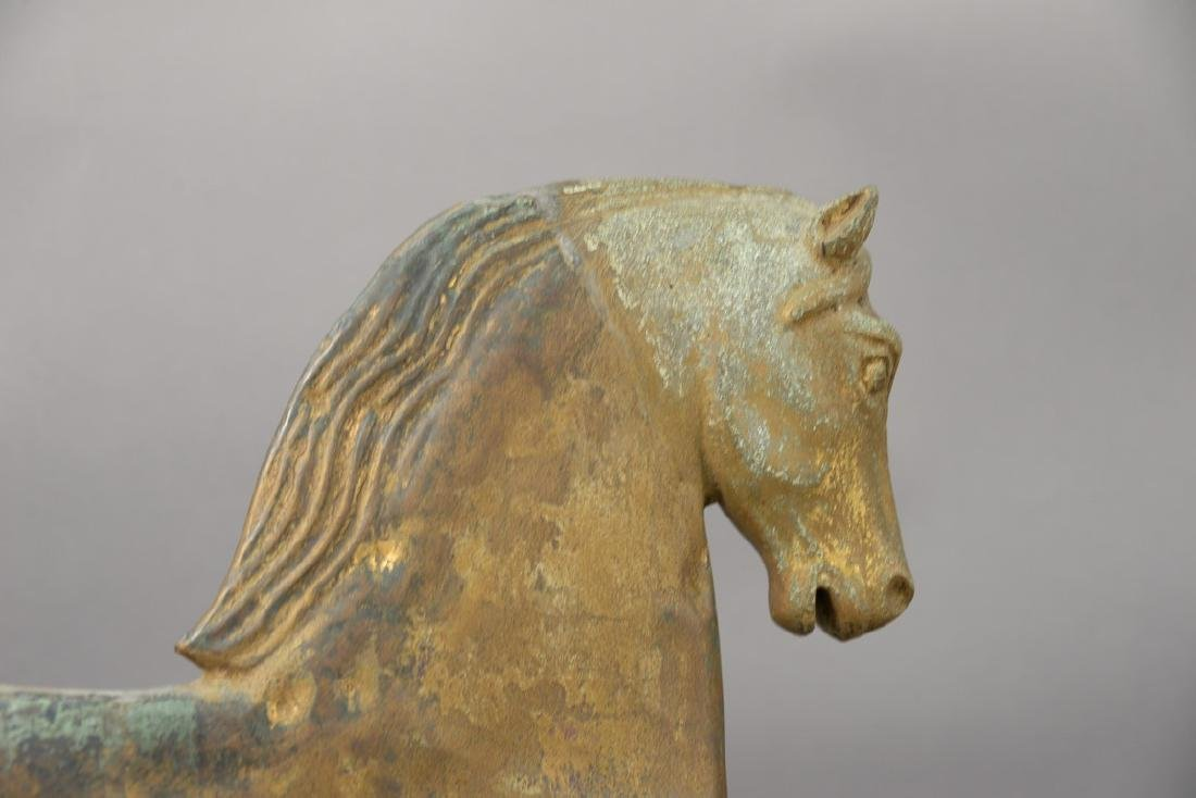"Horse weathervane with zinc head ""Black Hawk"" on metal - 3"
