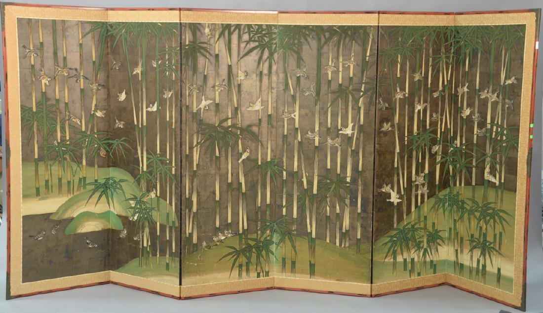 Six panel folding screen depicting sparrows flying