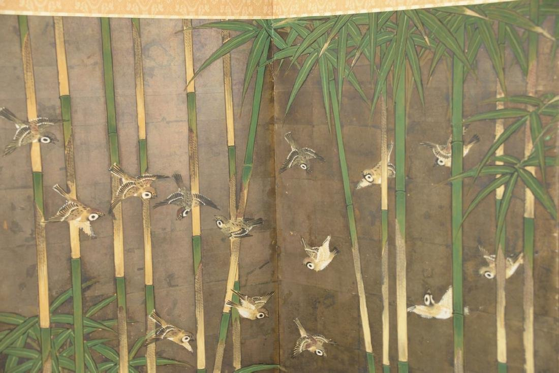 Six panel folding screen depicting sparrows flying - 2