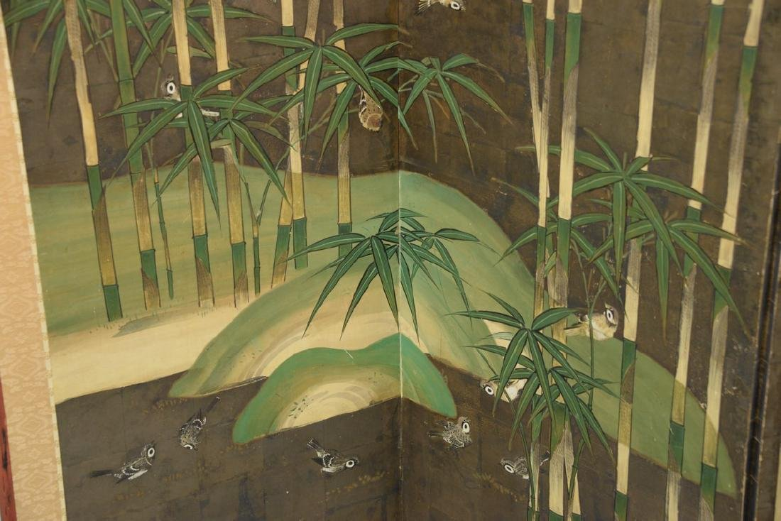 Six panel folding screen depicting sparrows flying - 3