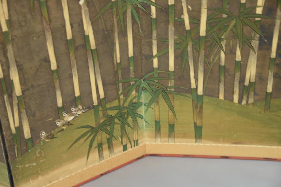 Six panel folding screen depicting sparrows flying - 4