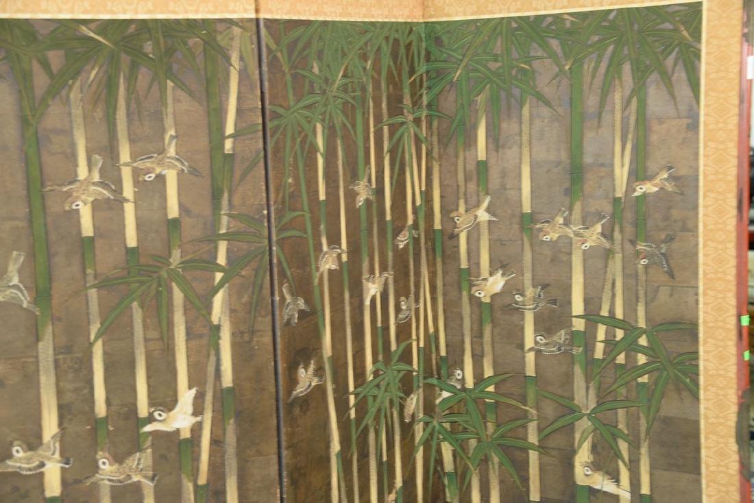 Six panel folding screen depicting sparrows flying - 6