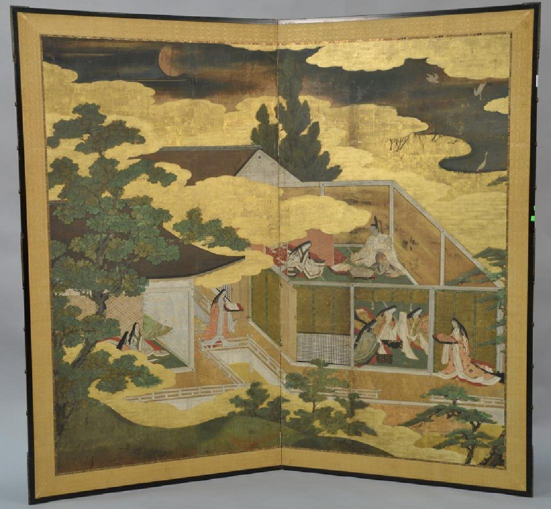Large painted two panel folding screen depicting Tales