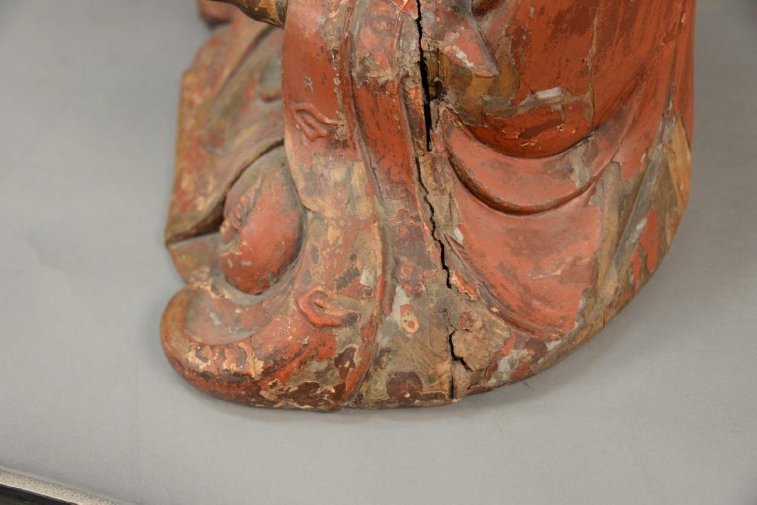 Large Chinese carved and red painted gesso seated - 4