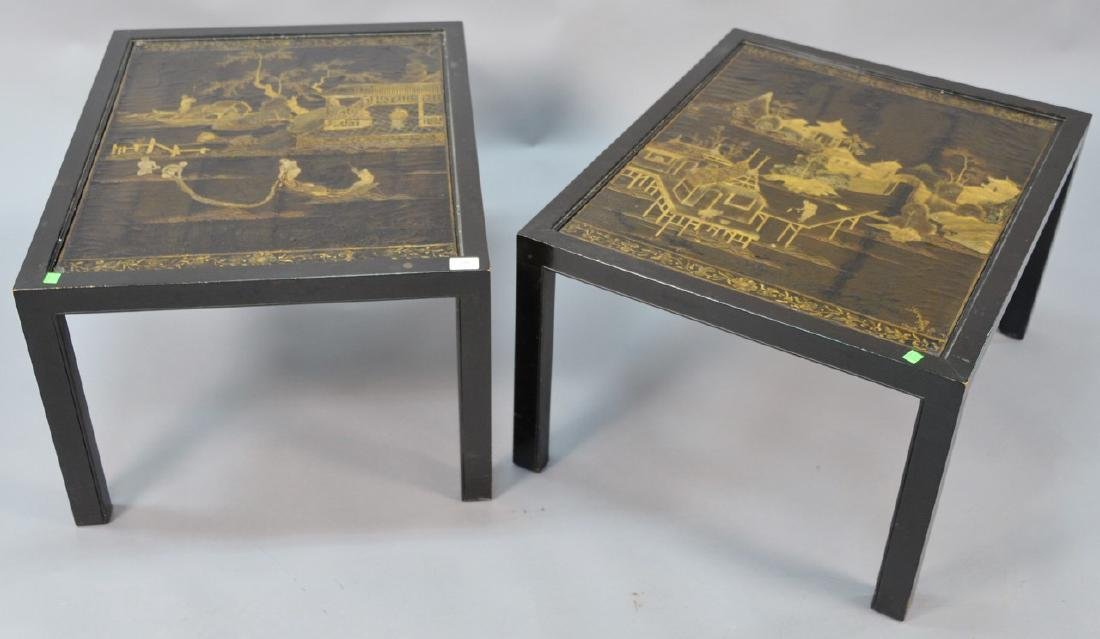 Pair of Chinese black lacquered panes made into tables,