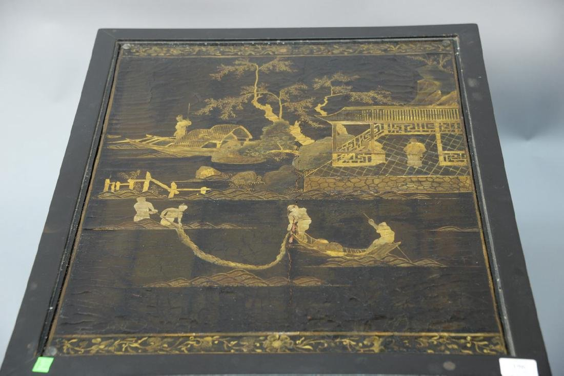 Pair of Chinese black lacquered panes made into tables, - 2