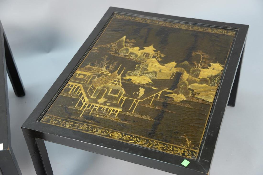 Pair of Chinese black lacquered panes made into tables, - 3