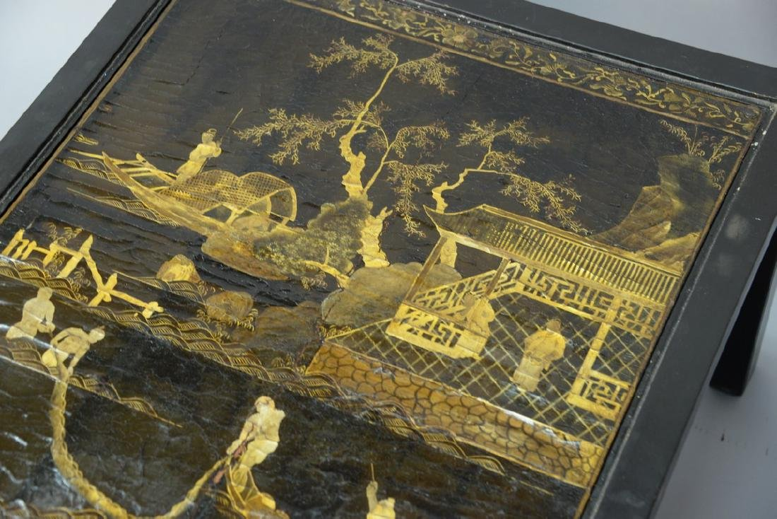 Pair of Chinese black lacquered panes made into tables, - 6