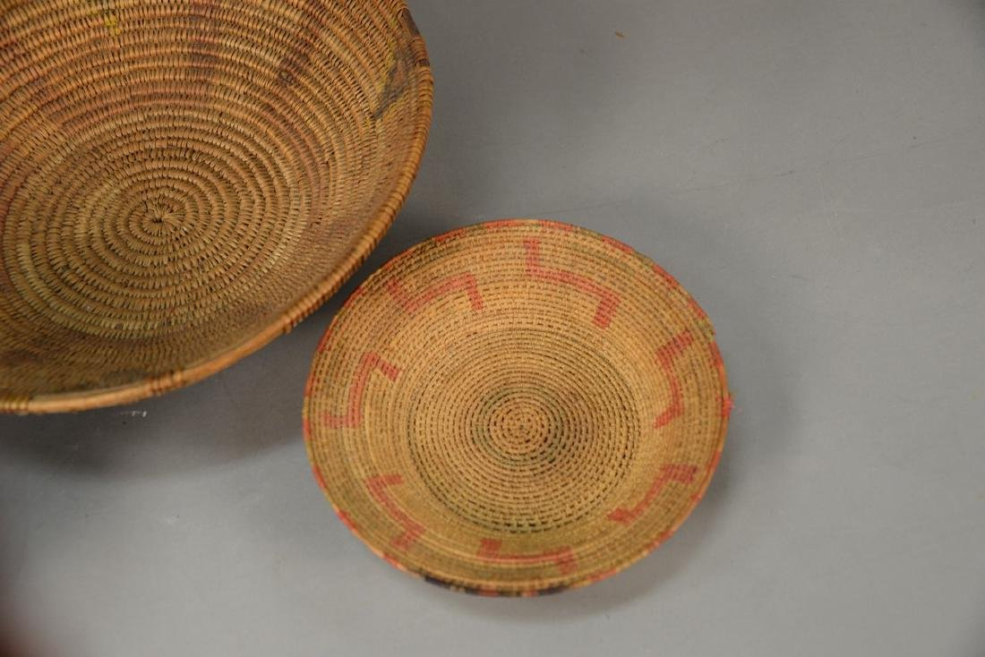 Three coiled Indian baskets, each with decoration. - 2