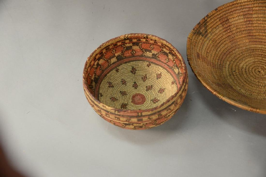 Three coiled Indian baskets, each with decoration. - 4