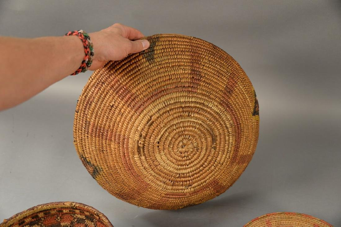 Three coiled Indian baskets, each with decoration. - 6
