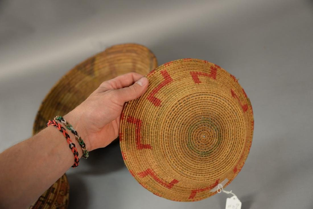 Three coiled Indian baskets, each with decoration. - 7