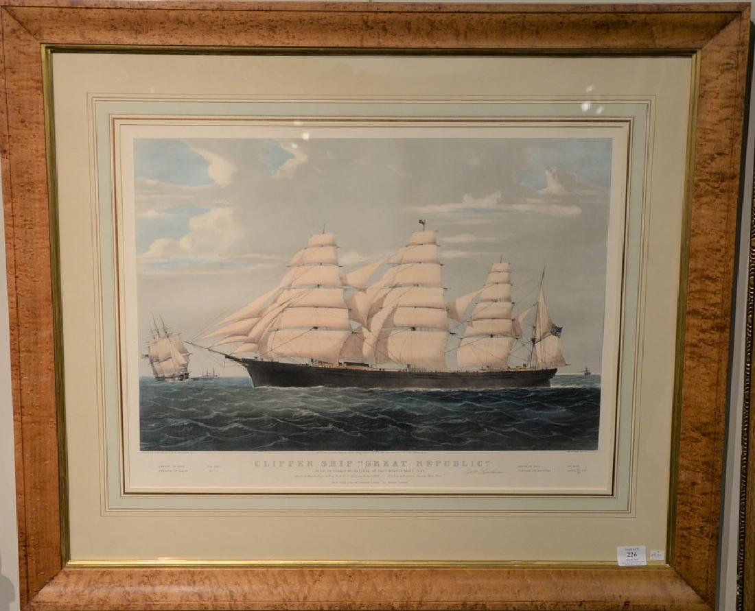 Nathaniel Currier  hand colored lithograph  Clipper