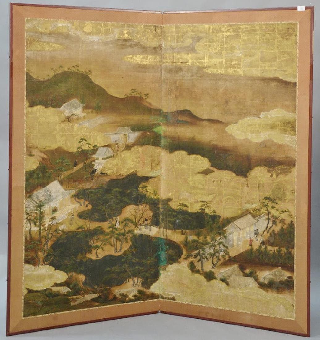 Large painted folding two-panel screen depicting
