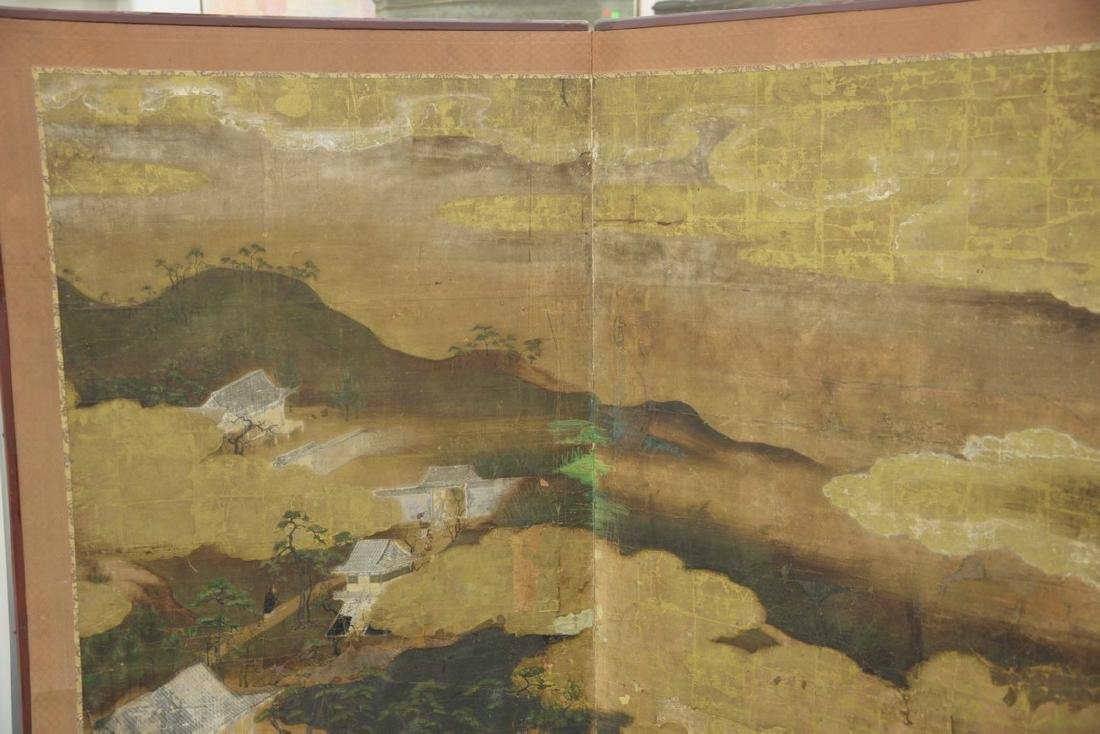 Large painted folding two-panel screen depicting - 2