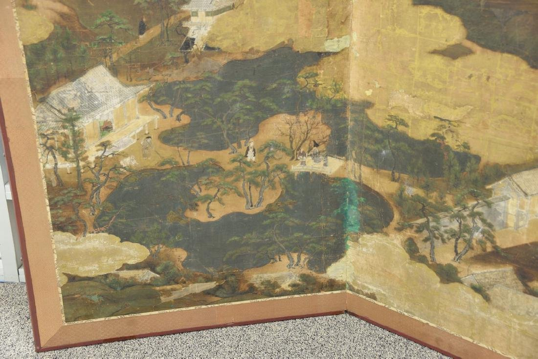 Large painted folding two-panel screen depicting - 3
