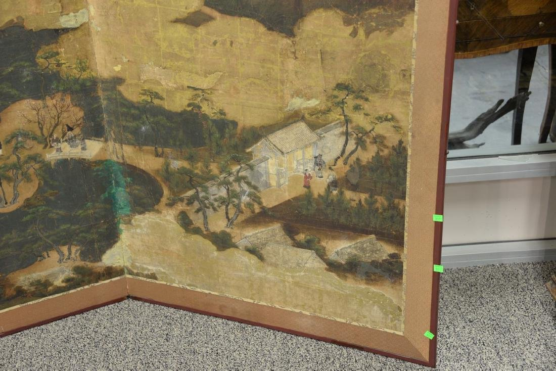 Large painted folding two-panel screen depicting - 4