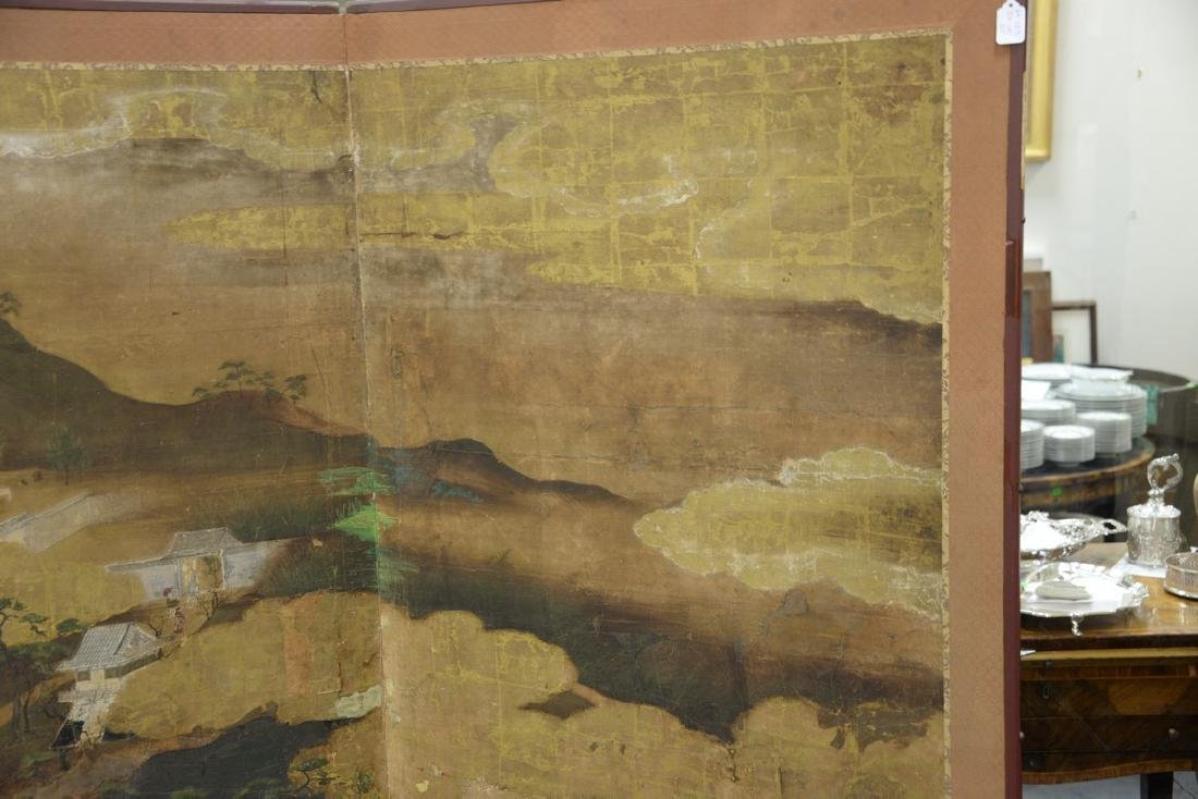 Large painted folding two-panel screen depicting - 5