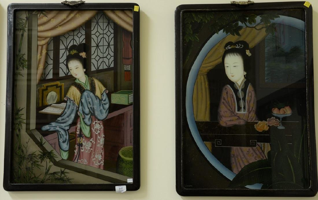 Set of three Chinese School reverse paintings on glass