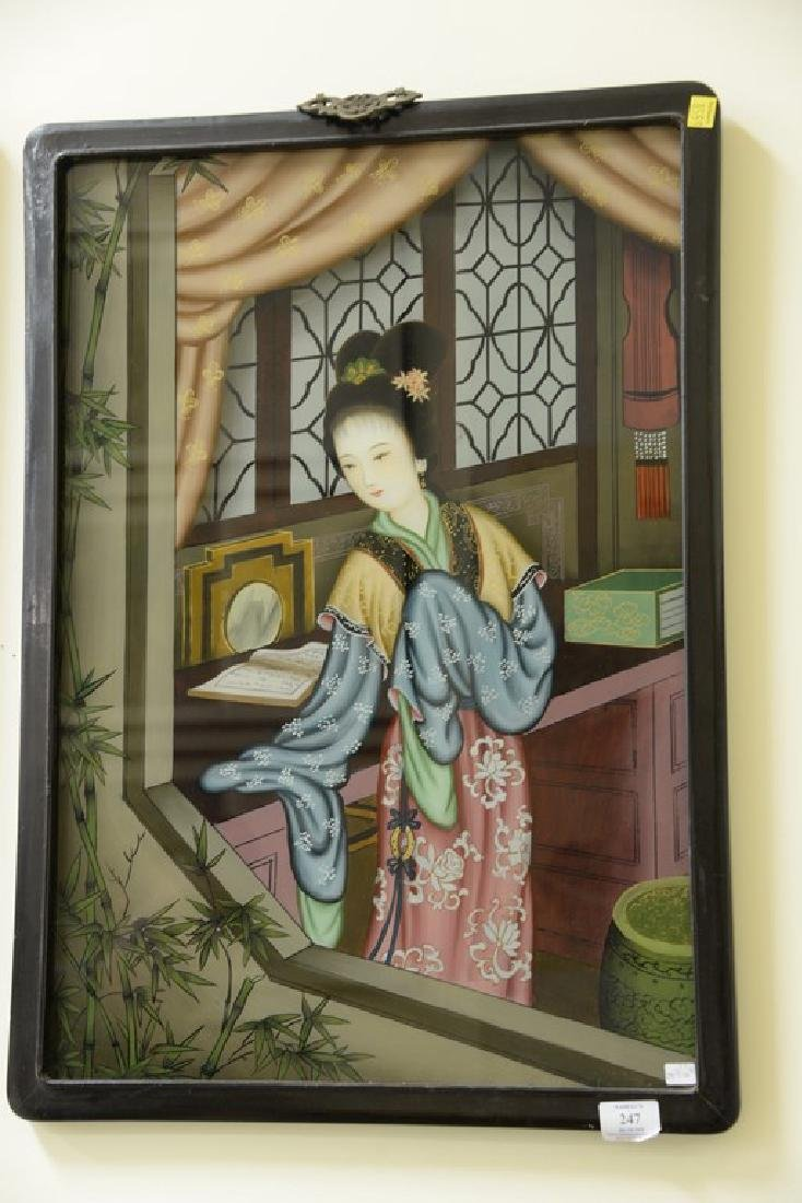 Set of three Chinese School reverse paintings on glass - 3
