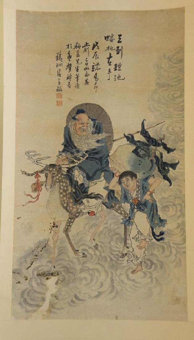 Oriental scroll watercolor on paper of a scholar with a