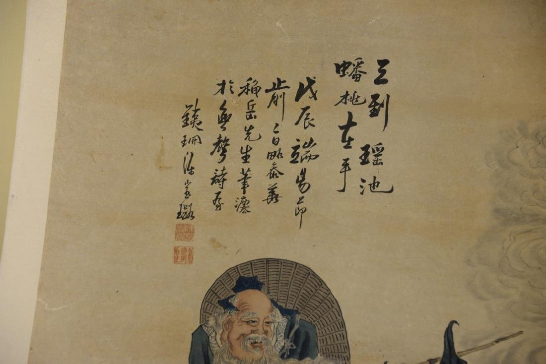 Oriental scroll watercolor on paper of a scholar with a - 2