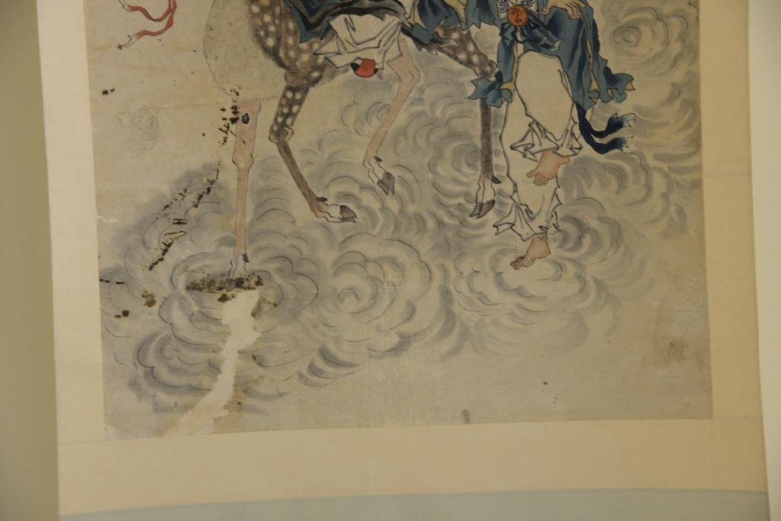 Oriental scroll watercolor on paper of a scholar with a - 3