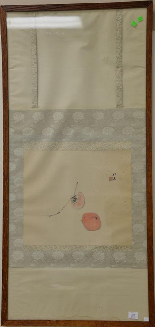 Oriental framed scroll watercolor on paper of peaches,