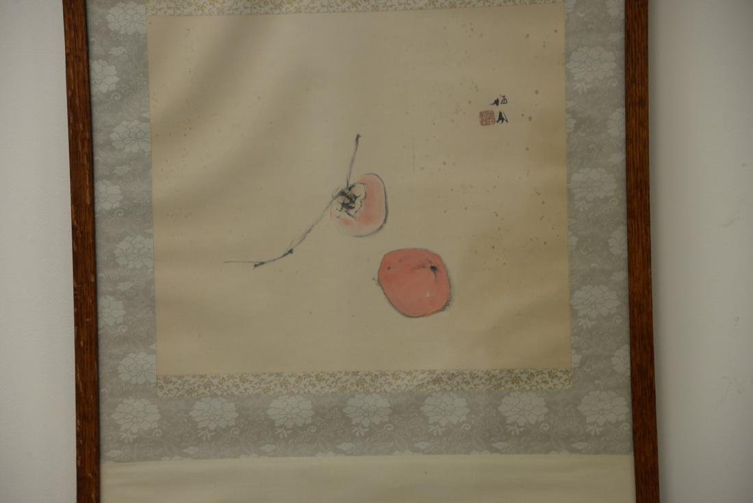 Oriental framed scroll watercolor on paper of peaches, - 2