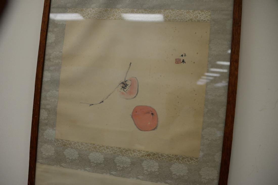 Oriental framed scroll watercolor on paper of peaches, - 3