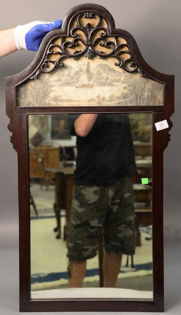 Chinese hardwood mirror having hand painted panel at