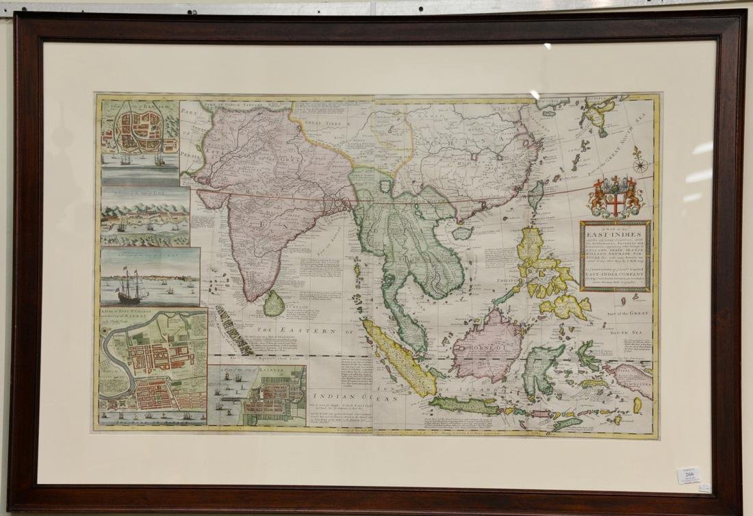 Herman Moll  hand colored copper engraved map (two
