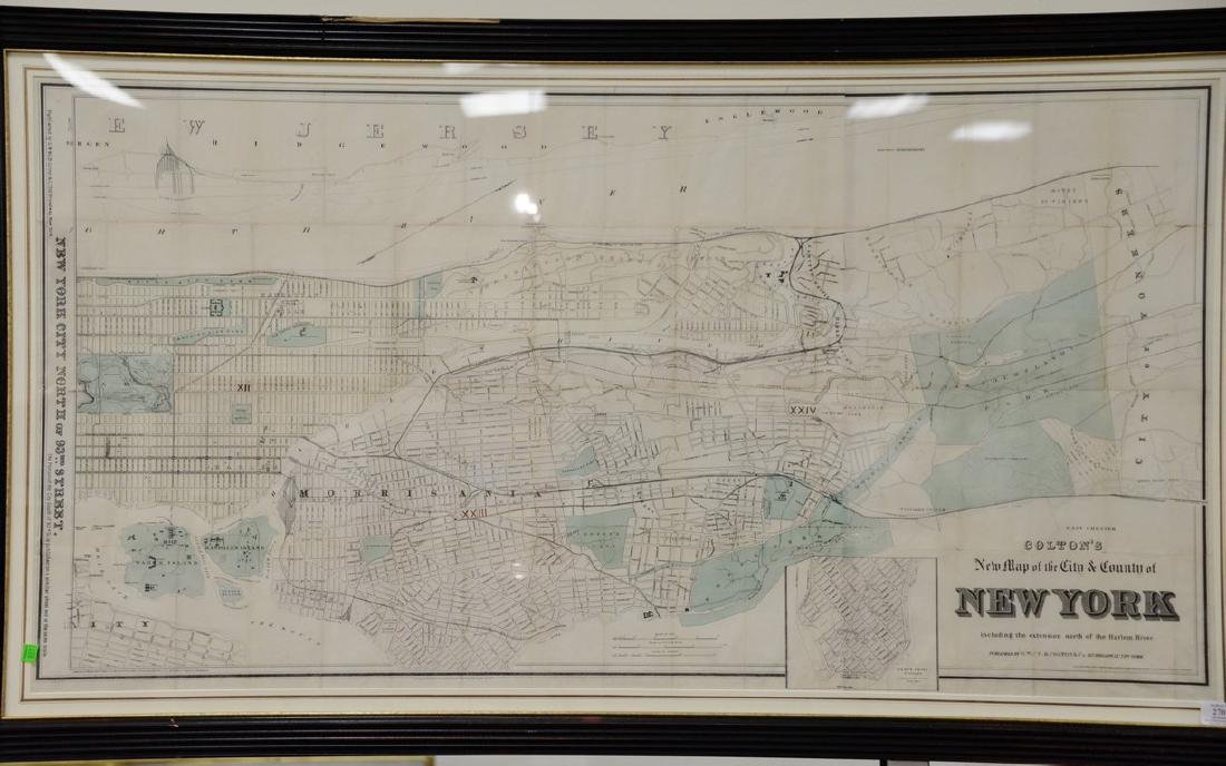 "Large framed map, ""New York City North of 93rd Street"","