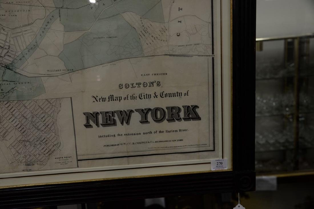 "Large framed map, ""New York City North of 93rd Street"", - 2"