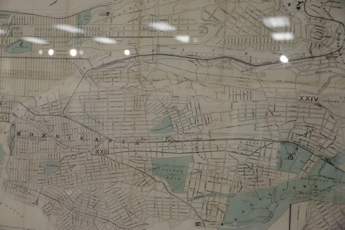 "Large framed map, ""New York City North of 93rd Street"", - 3"