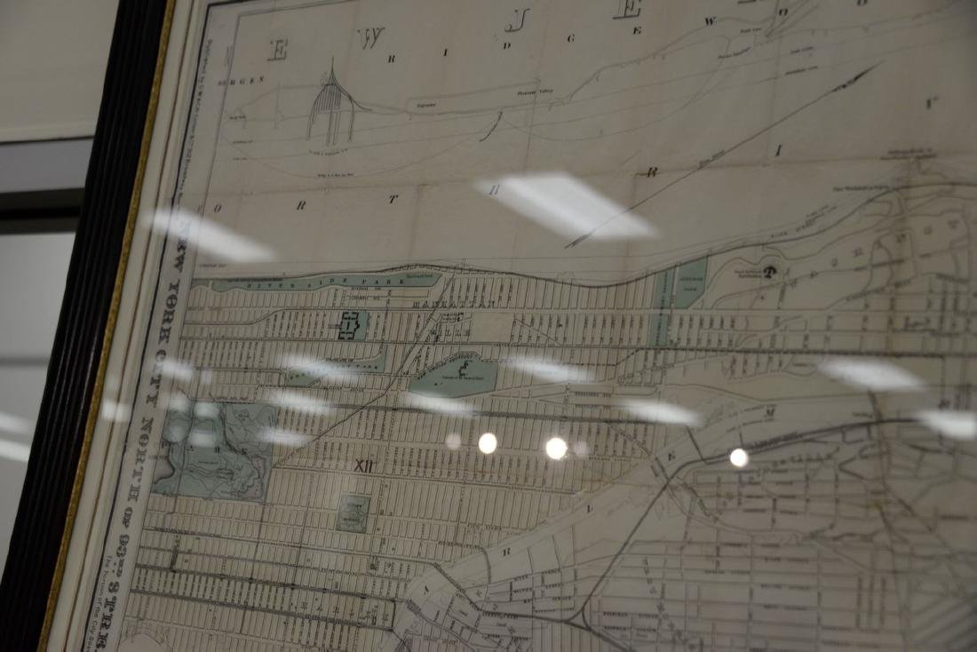 "Large framed map, ""New York City North of 93rd Street"", - 4"